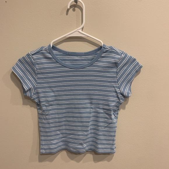 Brandy Melville Blue & White Striped Top